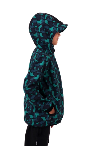 Children´s softshell jacket, green spots on a black background, Collection 2020
