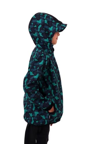 Children´s softshell jacket, green spots on a black background