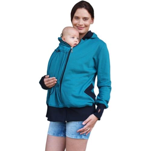 Organic cotton maternity and babywearing sweatshirt Beata(front use only), PETROL