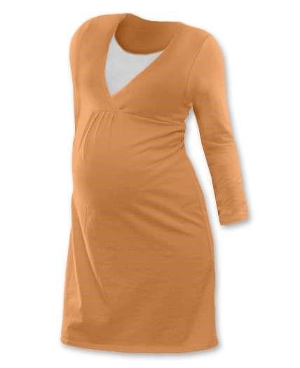 LUCIE- Umstands- und Stillnachthemd, lange Ärmel, Aprikosenfarbe