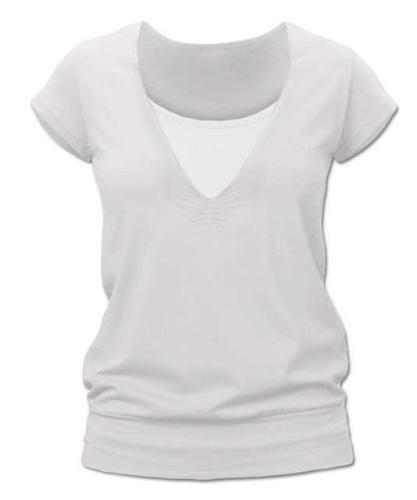 Kojící tričko KARLA, krátký rukáv, smetanové