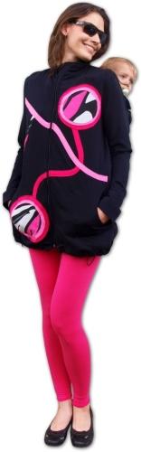Bavlněná nosící mikina Miriam+těhotenská vsadka, černá/růžová