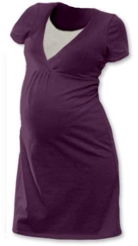 Kojicí noční košile Lucie, krátký rukáv, švestkově fialová