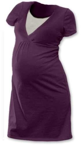 LUCIE- Umstands- und Stillnachthemd, kurze Ärmel, pflaumenviolett
