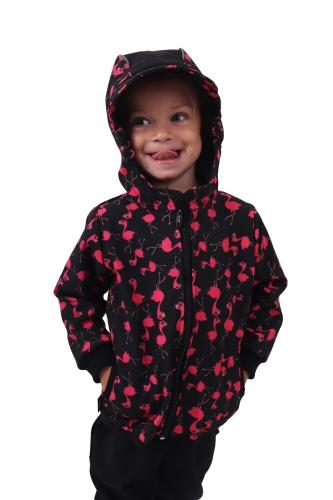 Dětská softshellová bunda, plameňáci