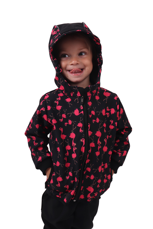 Dětská softshellová bunda, plameňáci, 140