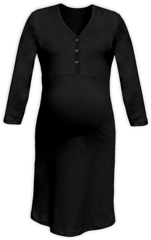 CECILIE- maternity and breastfeeding nightdress with snap-button neckline, BLACK