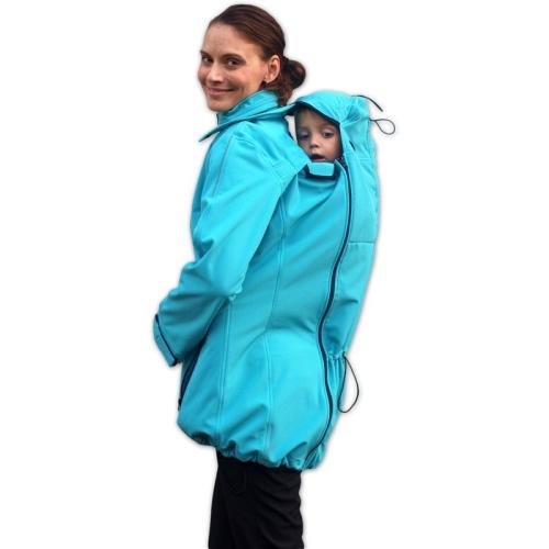 SANDRA- maternity and babywearing softshell jacket (FRONT/BACK USE), TURQUOISE