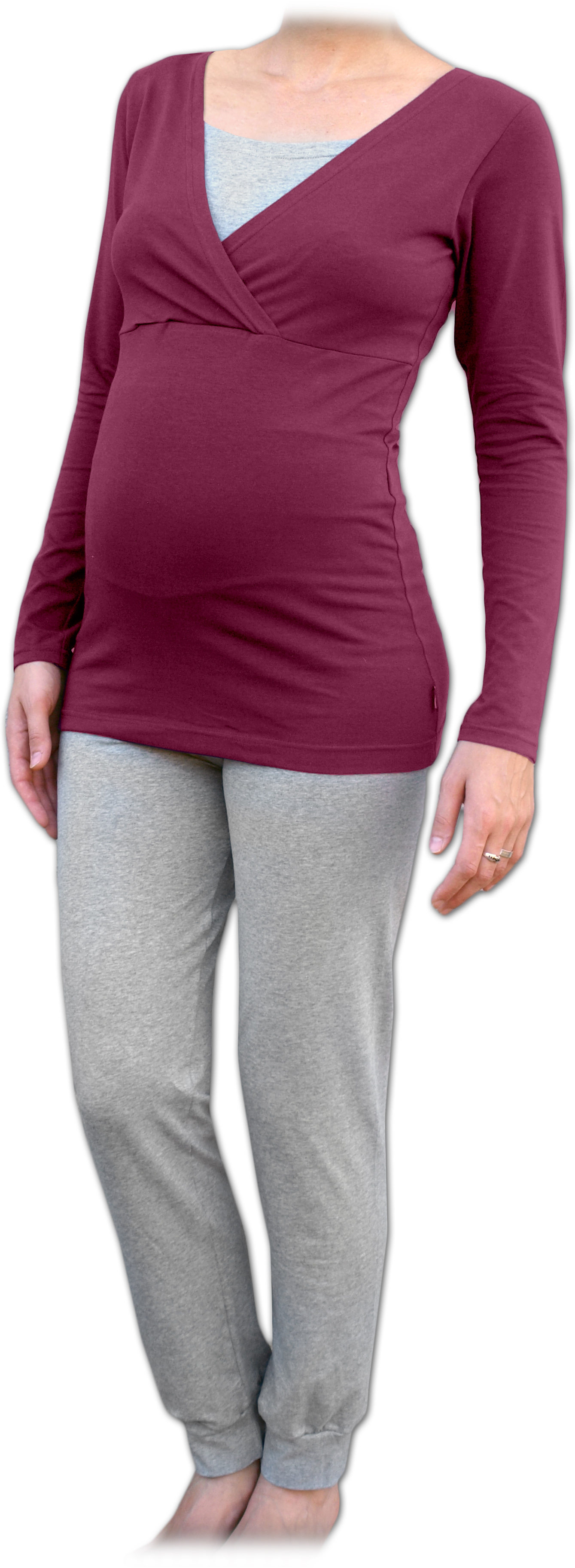 Těhotenské a kojicí pyžamo, dlouhé, cyklámen+šedý melír m/l