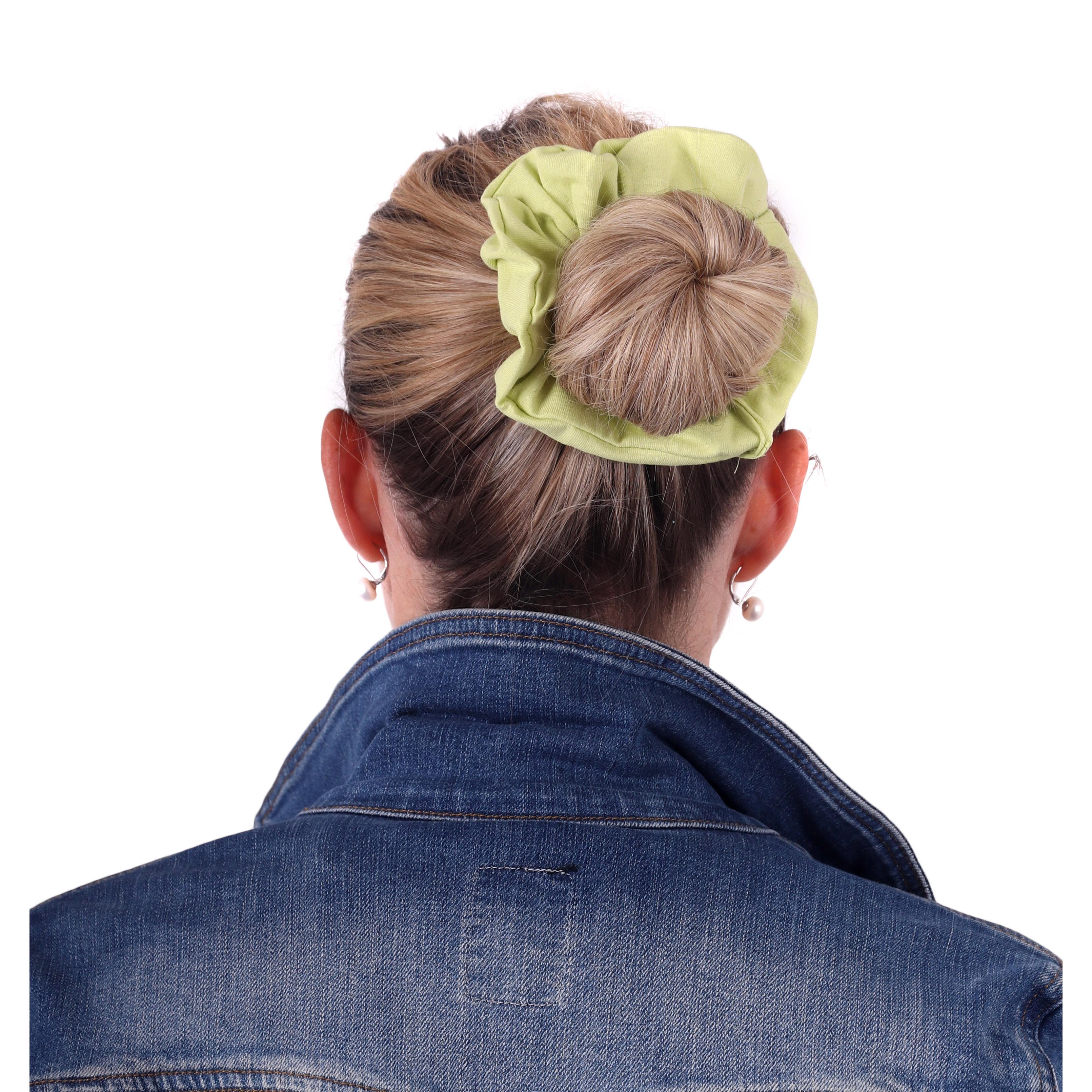 Látková gumička do vlasů, velká, světle zelená