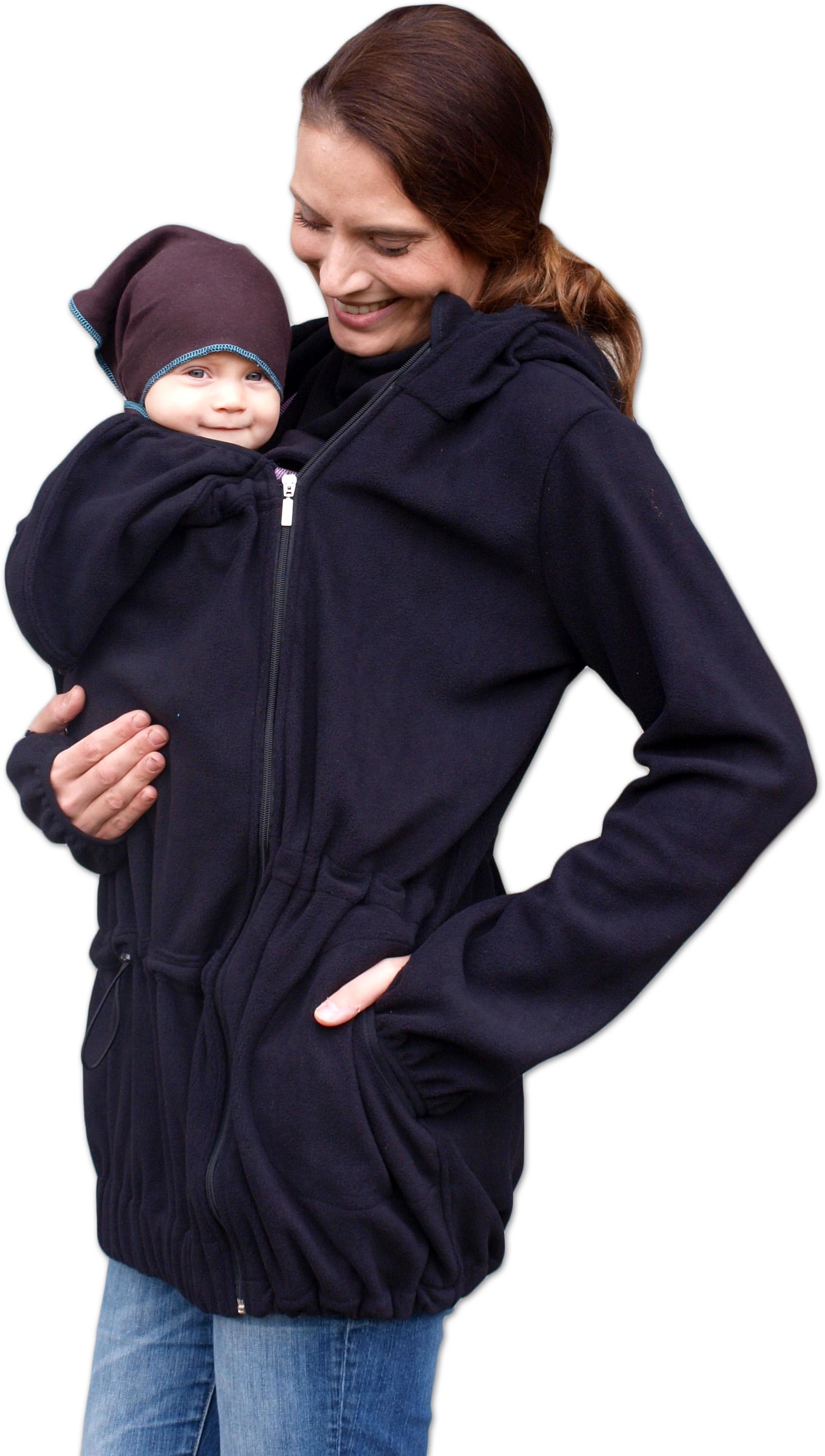 Nina- nosící fleece mikina s kapucí ( pouze pro přední nošení ), černá m/l
