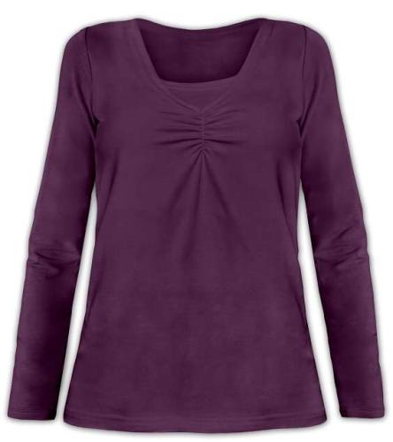 Dojčiace tričko Klaudie, vsadka vo farbe, dlhý rukáv, slivková