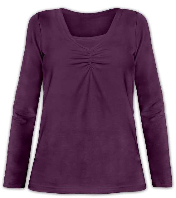 KLAUDIE- Stillshirt, lange Ärmel, Pflaumenviolett