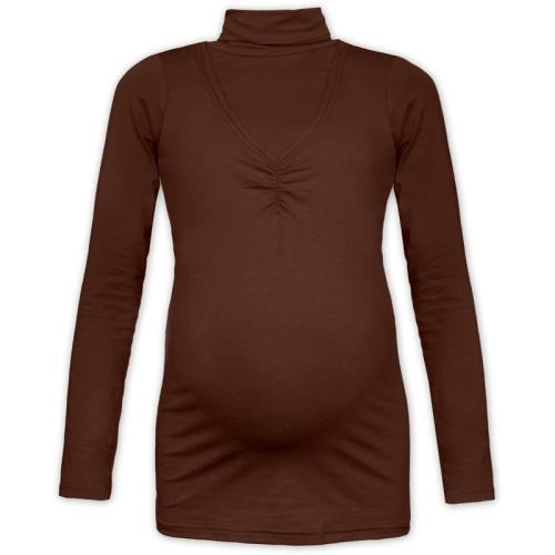 KLAUIDE- breast-feeding roll-colar T-shirt, CHOCOLATE BROWN