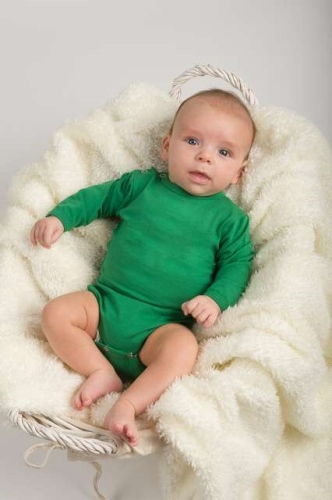 Baby cotton onesies with long sleeves, dark green
