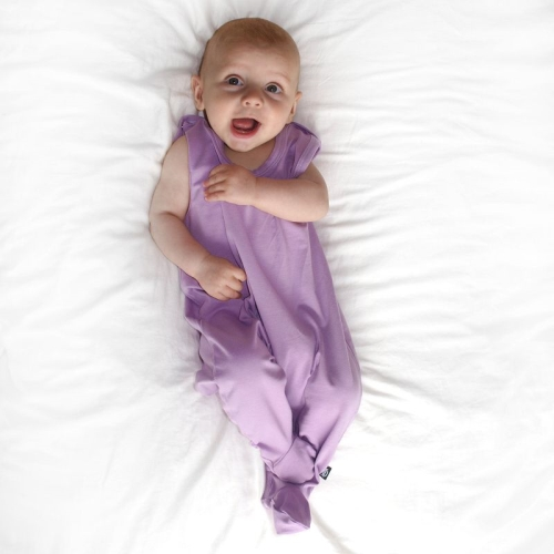 Infant playsuits, baby jumpsuits, rompers, lavender