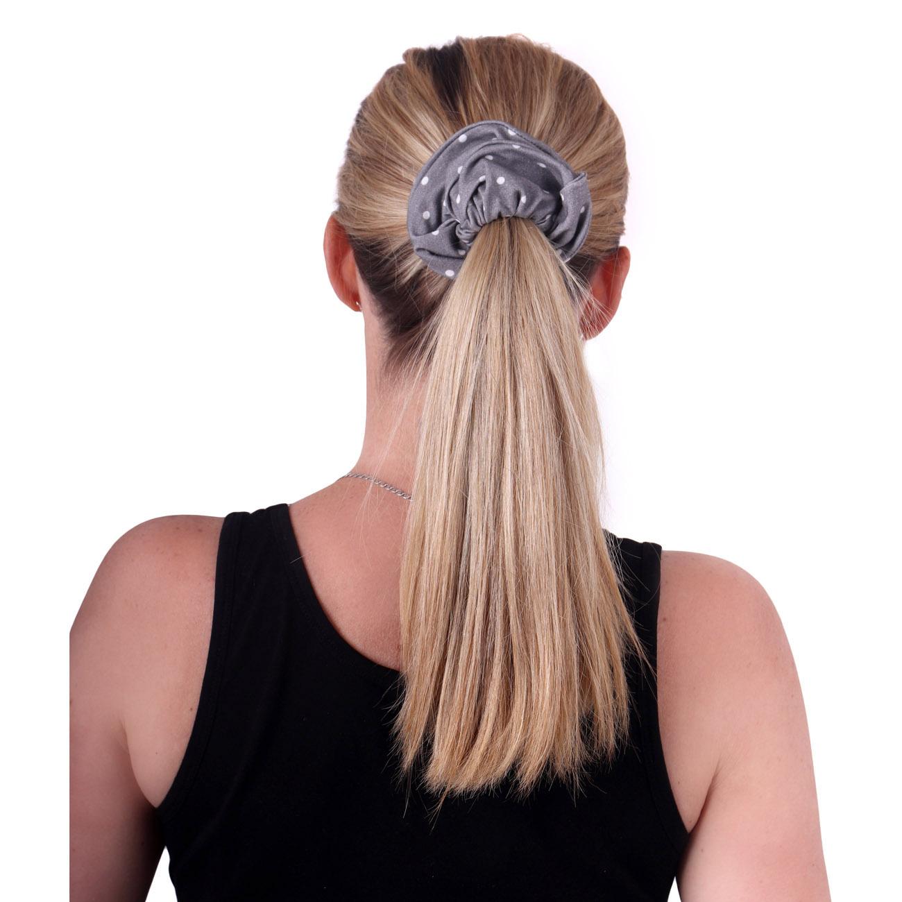 Látková gumička do vlasů, velká, šedý puntík