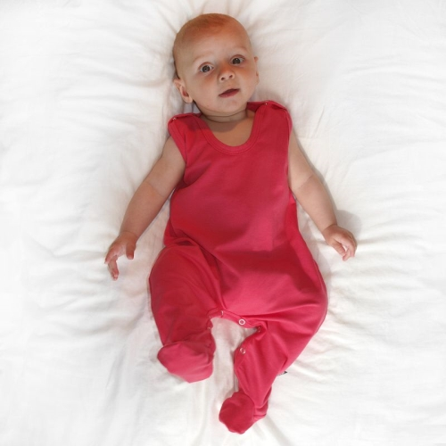 Infant playsuits, baby jumpsuits, rompers, salmon