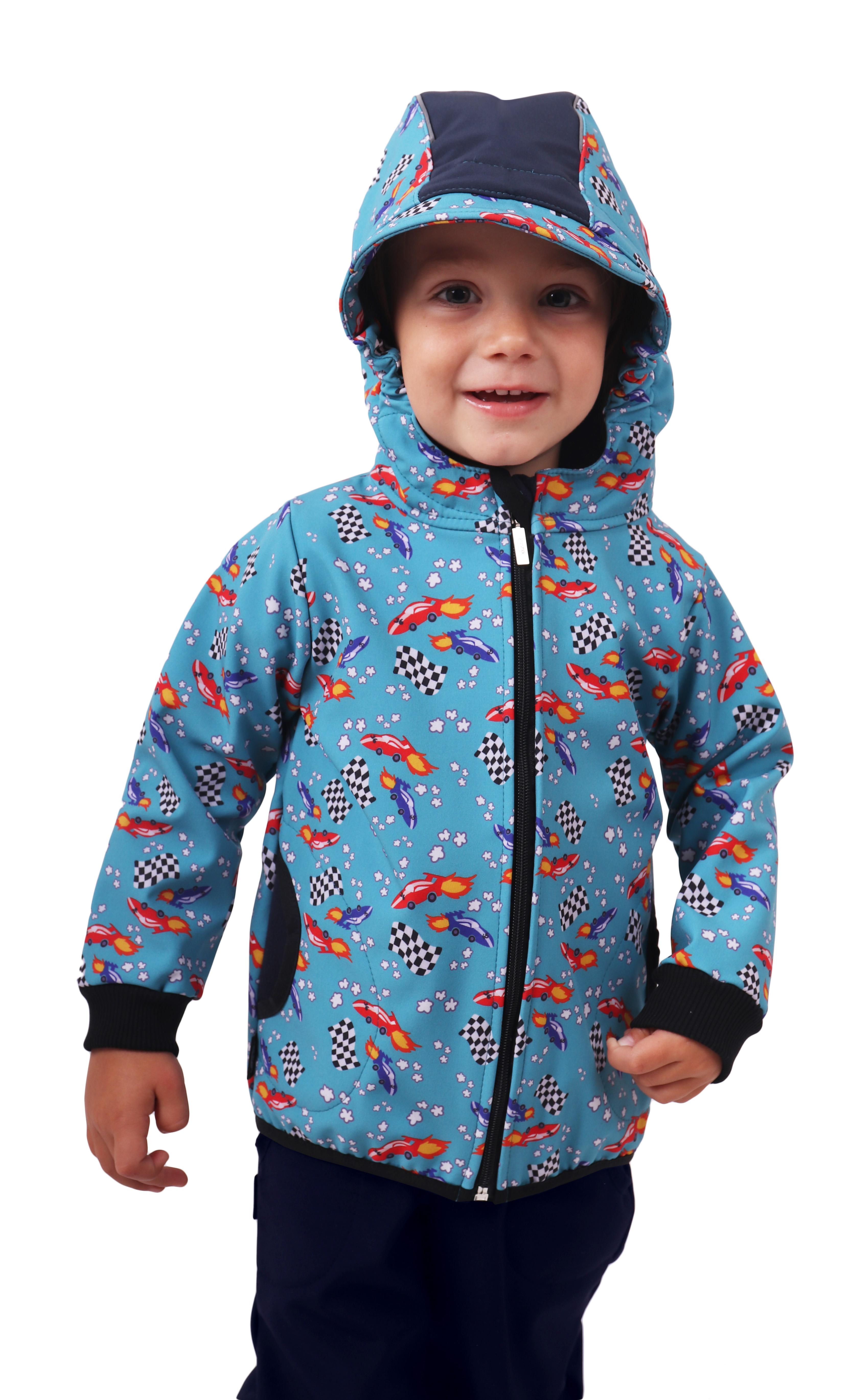 Dětská softshellová bunda, raketové auťáky, 110