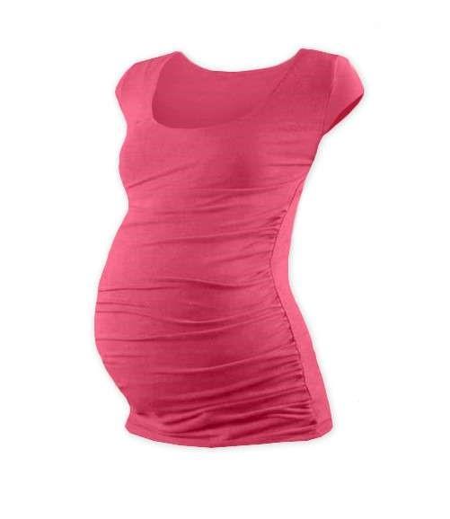 Těhotenské tričko Johanka, mini rukáv, lososově růžové