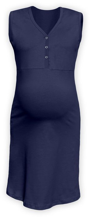 CECILIE- maternity and breastfeeding nightdress with snap-button neckline, DARK BLUE