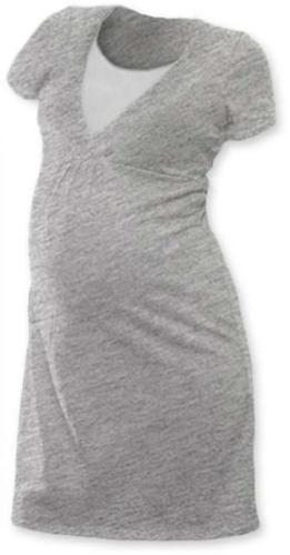 LUCIE- Umstands- und Stillnachthemd, kurze Ärmel, grau meliert