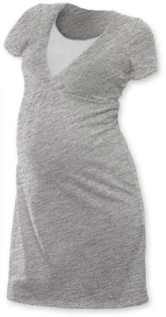 Kojicí noční košile Lucie, krátký rukáv, šedý melír