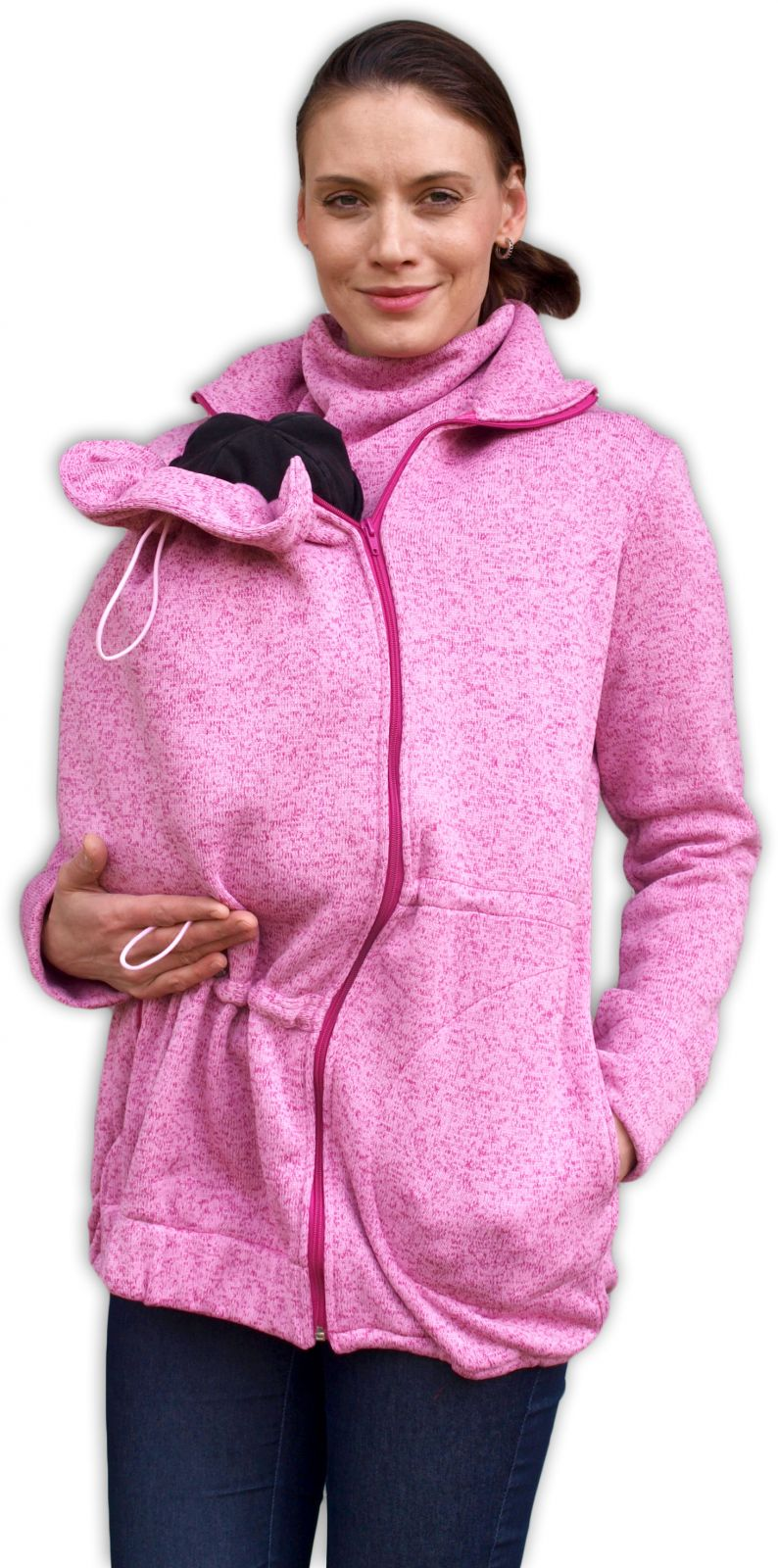 Nosící svetr renata (přední nošení), růžový s/m