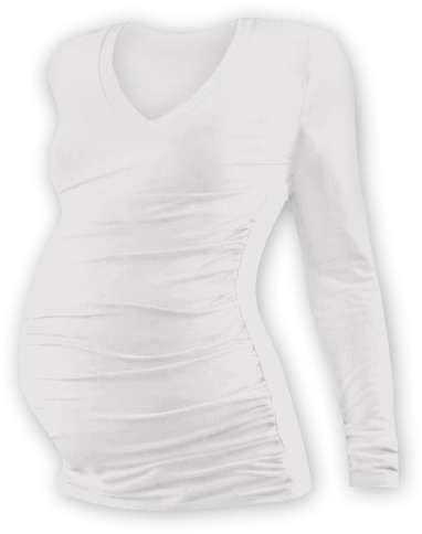 Těhotenské tričko Vanda, dlouhý rukáv, smetanové