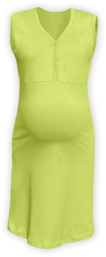 Kojící noční košile rozepínací, bez rukávů, světle zelená