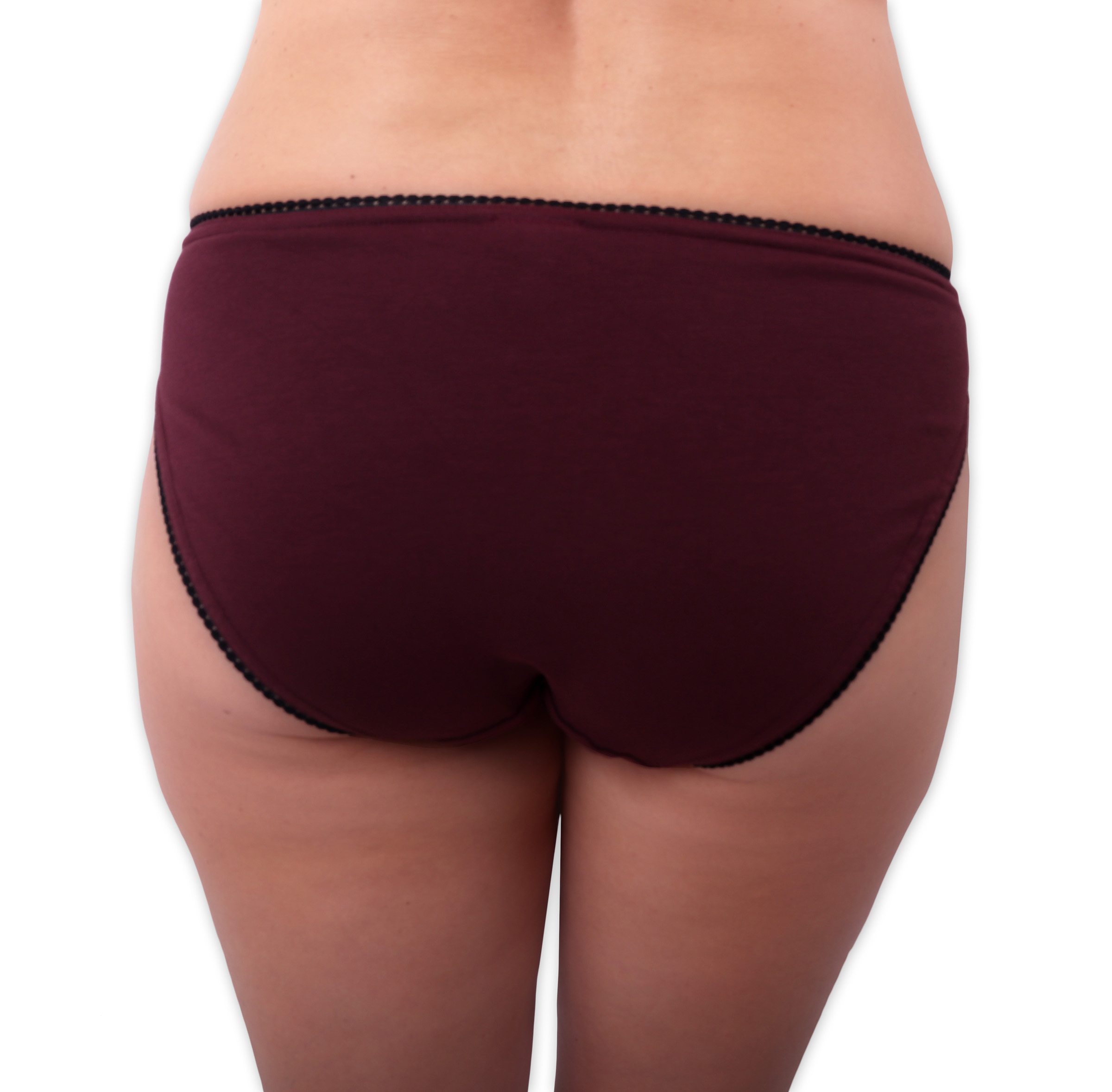 Dámské kalhotky bavlněné, klasický střih, bordo, 38