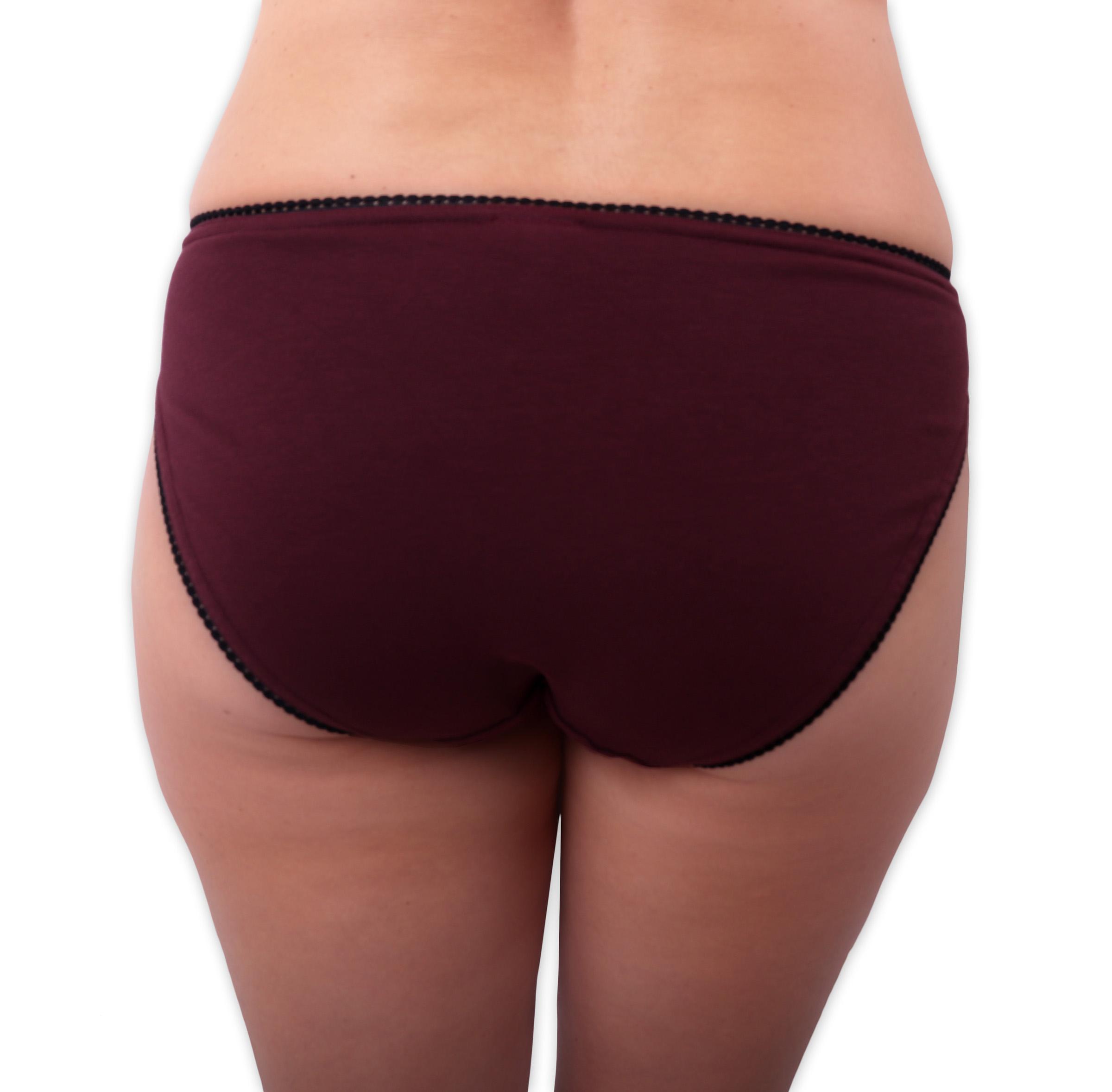 Dámské kalhotky bavlněné, klasický střih, bordo, 44