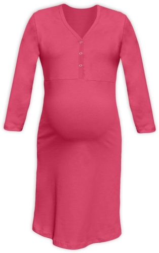 Maternity and breastfeeding nightdress with snap-button neckline Cecilie, SALMON PINK