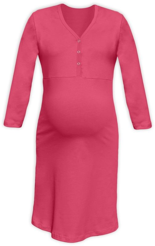 CECILIE- maternity and breastfeeding nightdress with snap-button neckline, SALMON PINK