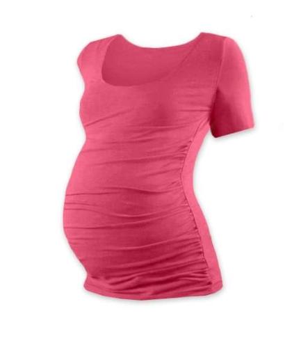 Těhotenské tričko Johanka, krátký rukáv, lososově růžové