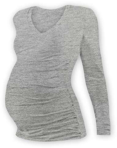 Tehotenské tričko Vanda, dlhý rukáv, sivý melír