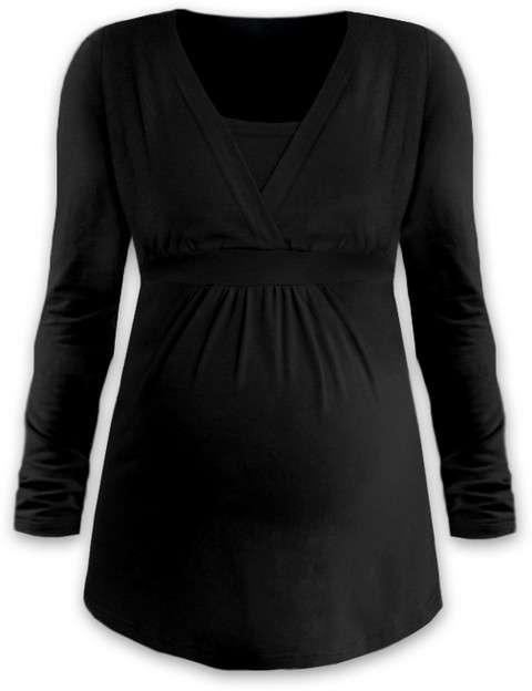 Těhotenská a kojicí tunika anička, dlouhý rukáv, černá l/xl