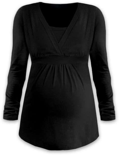 Těhotenská a kojicí tunika Anička, dlouhý rukáv, černá