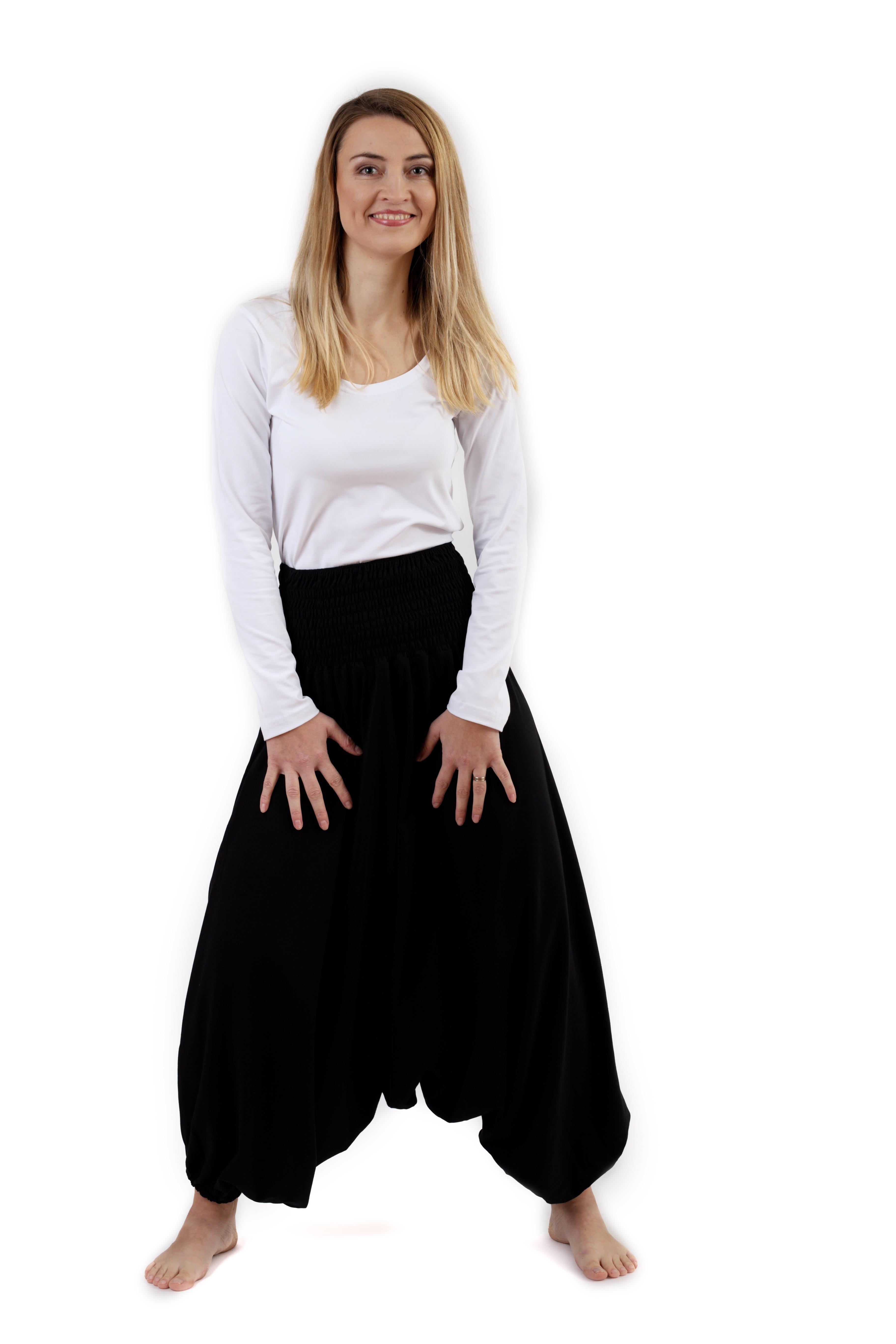 Těhotenské turecké kalhoty, černé m/l