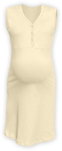 CECILIE- maternity and breastfeeding nightdress with snap-button neckline, WHITE COFFEE