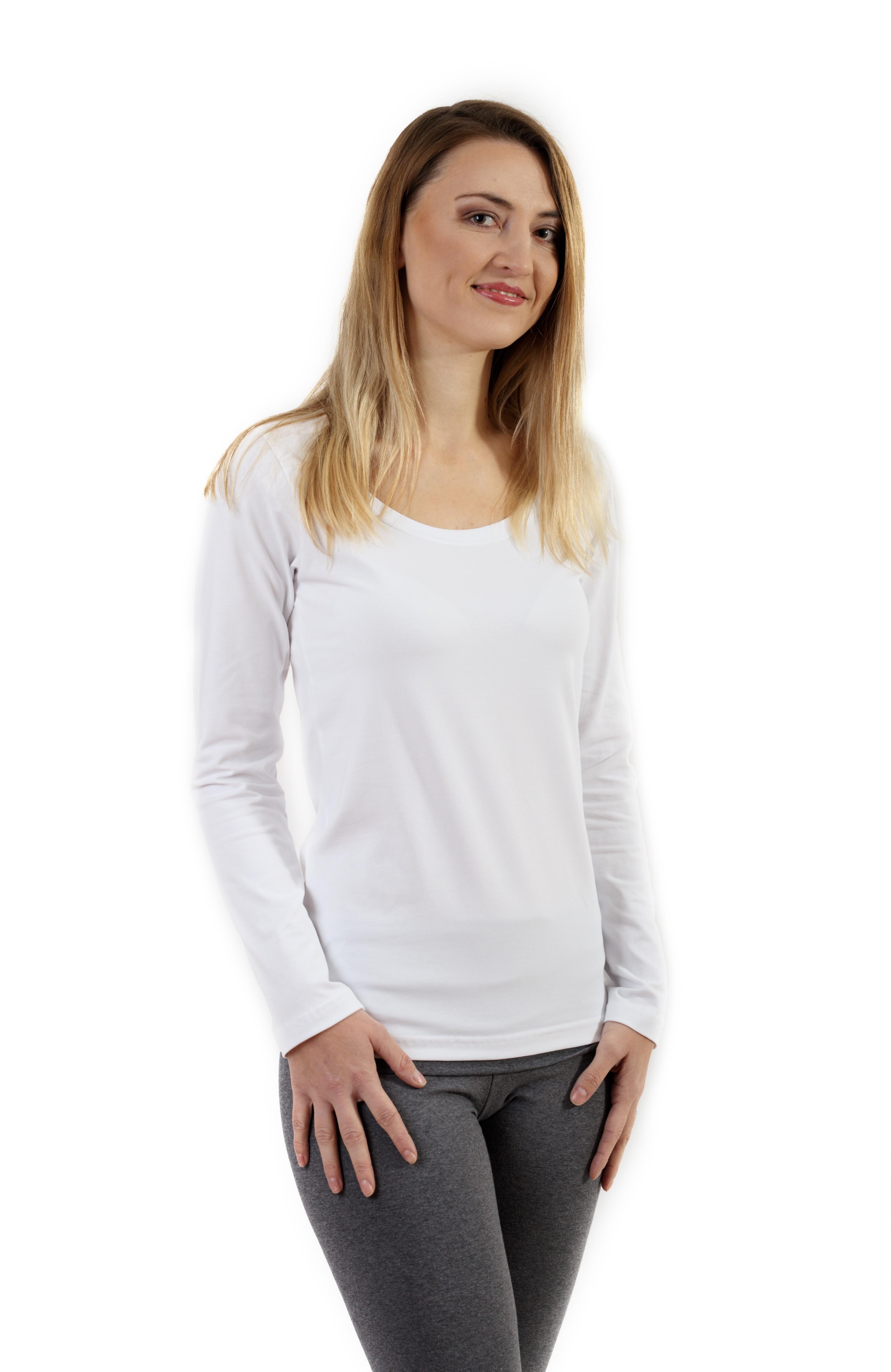 Dámské tričko Brigita, dlouhý rukáv, bílá