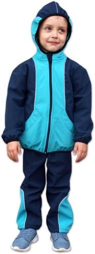 Dětská softshellová bunda, tyrkys+tmavě modrá