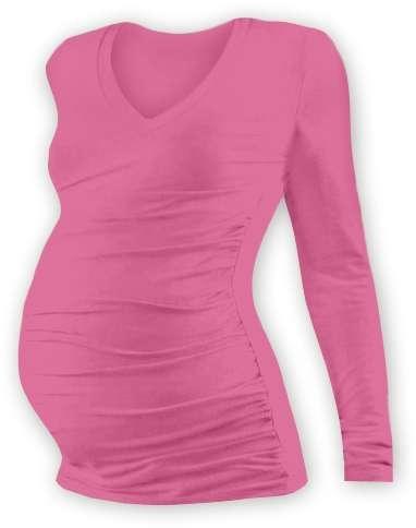Tehotenské tričko Vanda, dlhý rukáv, ružové