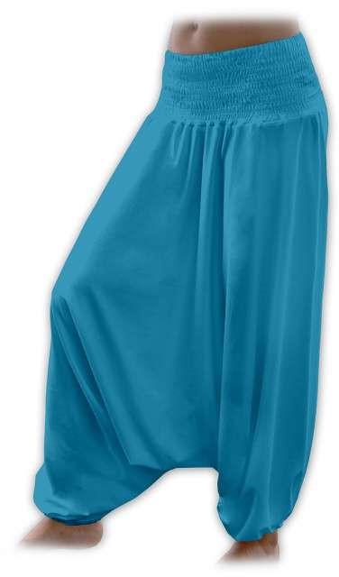 Těhotenské turecké kalhoty, tmavý tyrkys