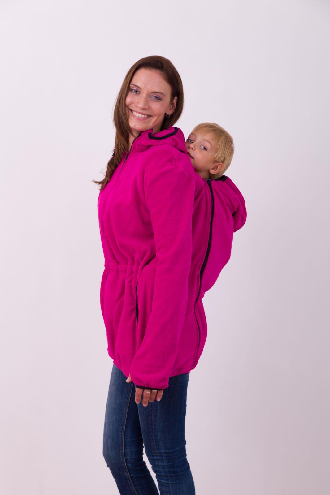 Nosící fleece mikina Nela (přední/zadní nošení), sytě růžová