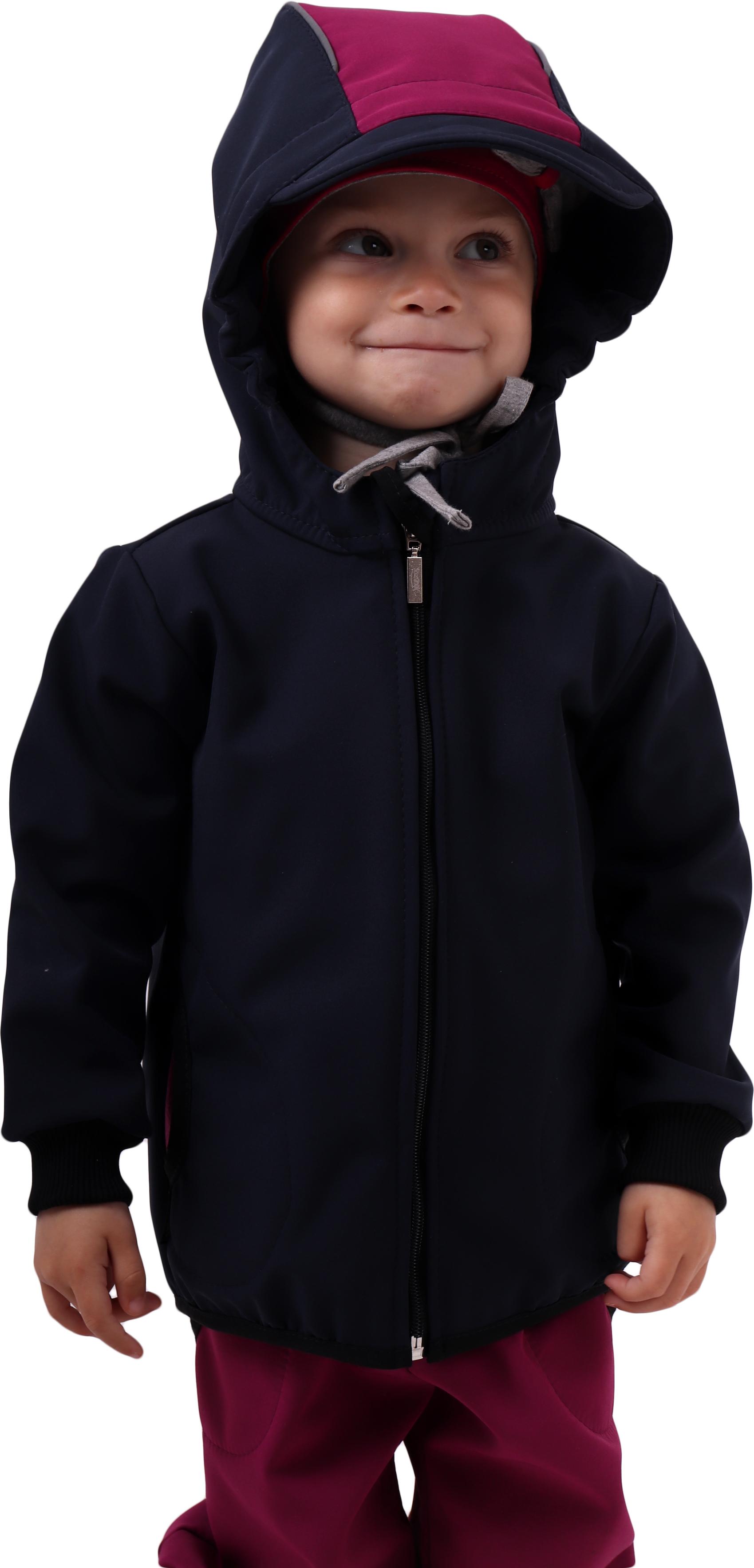 Dětská softshellová bunda, tmavě modrá s fuchsiovými doplňky, 80