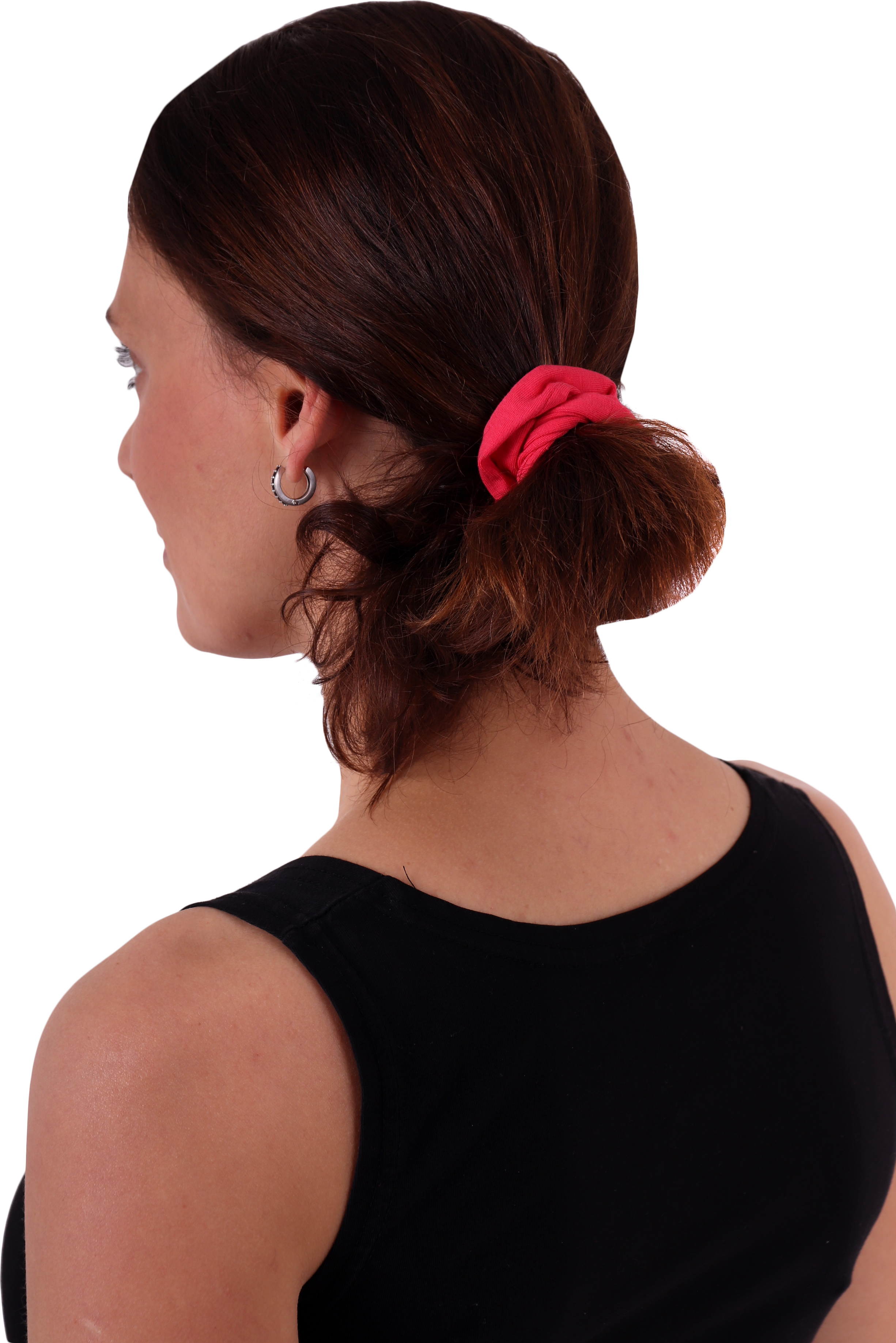 Látková gumička do vlasů, malá, lososově růžová
