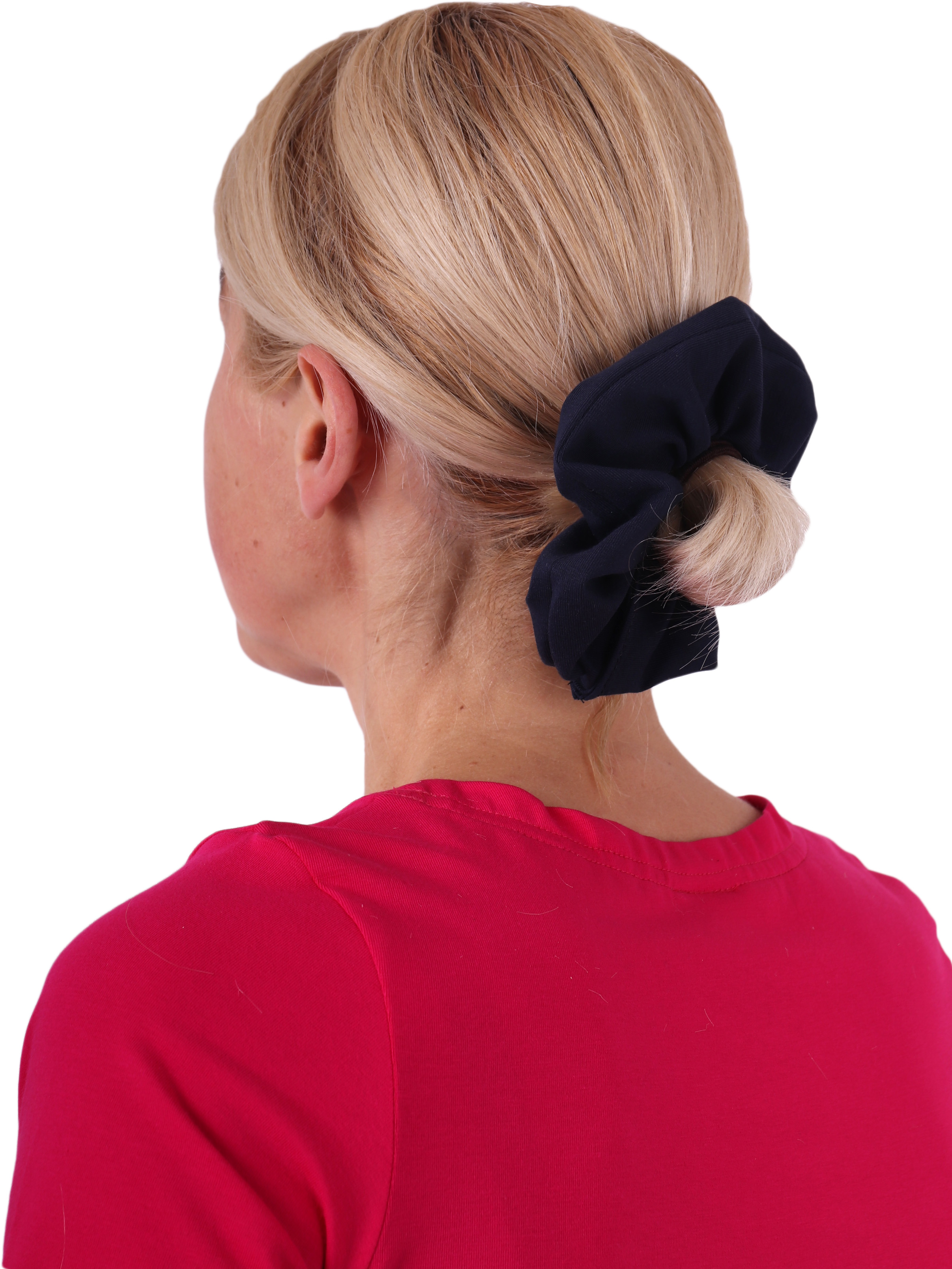 Látková gumička do vlasů, velká, tmavě modrá