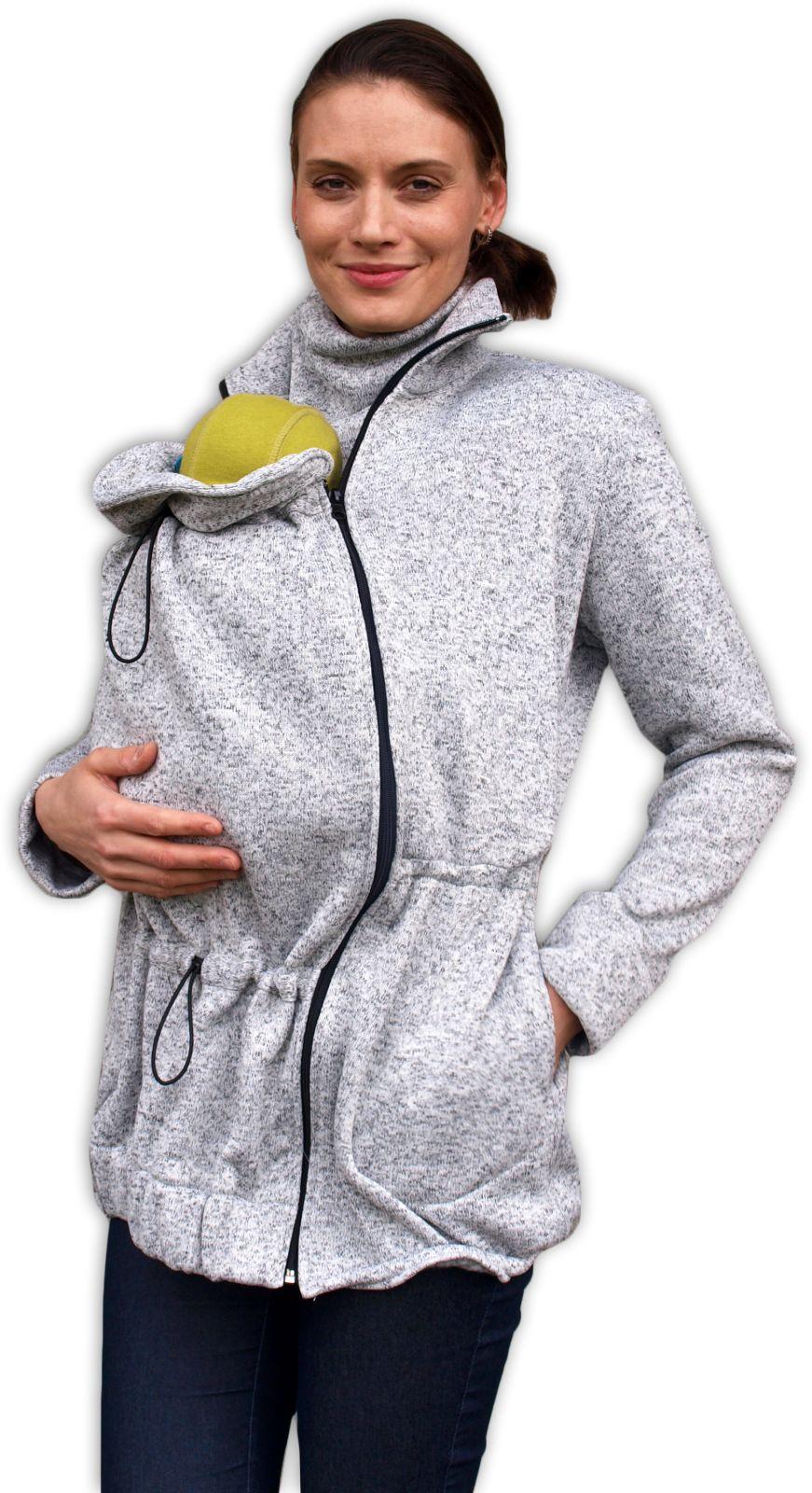 Nosící svetr renata (přední nošení), šedý melír m/l
