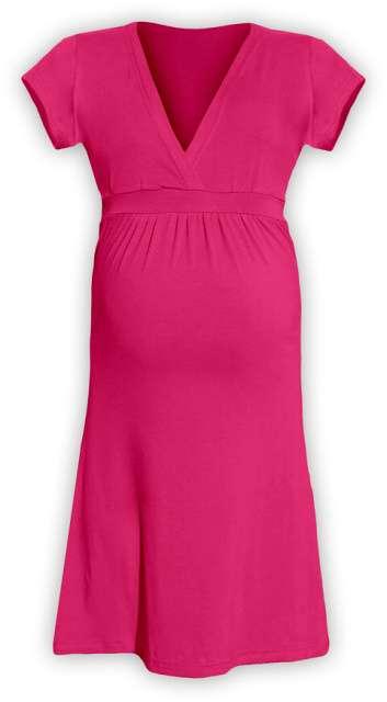 Těhotenské šaty šarlota, sytě růžová l/xl